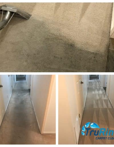 TruRinse Before and After pictures of cleaning traffic lane in hallway