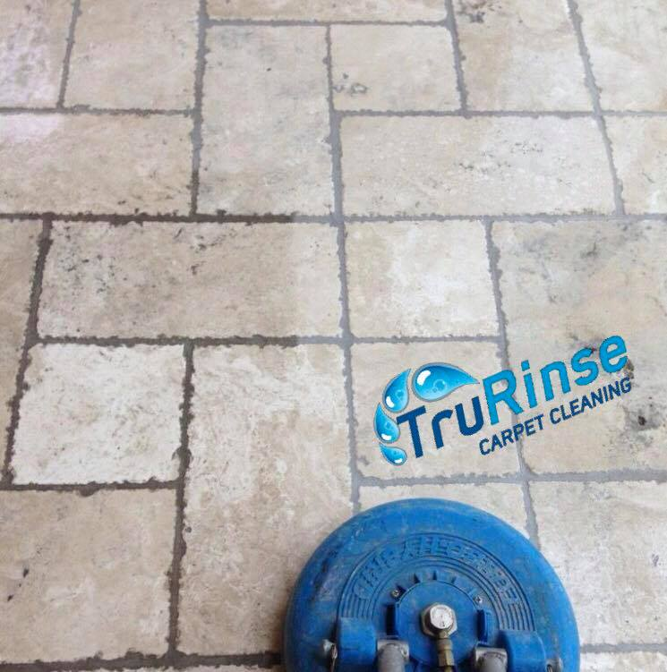 Before & after picture of professional tile and grout cleaning services from TruRinse