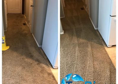 TruRinse Carpet Cleaning - Before and After cleaning carpet in a hallway