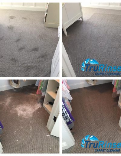 TruRinse Carpet Cleaning - Before and After pictures of cleaning baking powder and shampoo from carpet