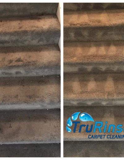 TruRinse Carpet Cleaning - Before and After pictures of cleaning carpet on stairs