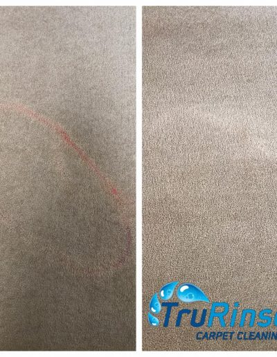 TruRinse Carpet Cleaning - Before and After pulling nail polish remover from carpet