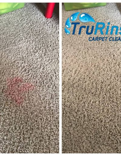 TruRinse Carpet Cleaning - Before and After pulling red stain from carpet