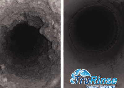 Before and after air duct cleaning by TruRinse