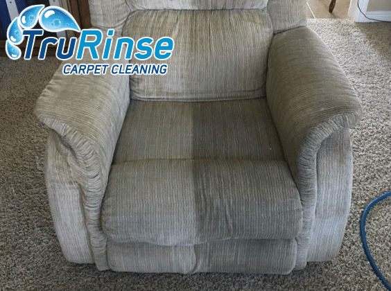 Upholstery on recliner halfway cleaned by TruRinse