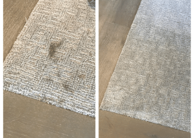 Before and after removing glue from carpet - TruRinse