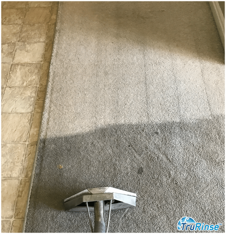 Before & after picture of using the best carpet cleaner - TruRinse